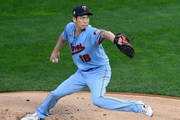 日米通算150勝を達成した前田。失投に悔しさをにじませたが、素晴らし投球だった。(C)Getty Images