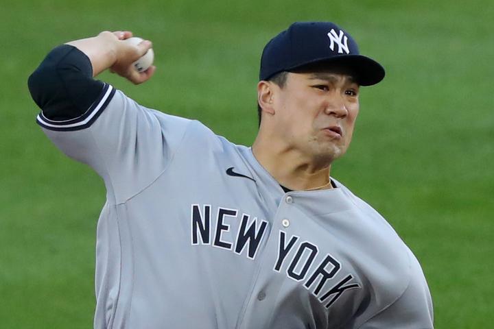 今季レギュラーシーズン最後の登板に臨んだ田中。4回5失点、2四球5奪三振で無念の降板となった。(C)Getty Images