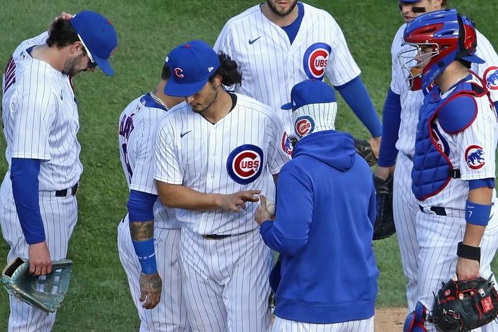 """1球のミスから無念の降板となったダルビッシュ。""""ただの好投""""では、今のカブスを勝たせることはできなかった。(C)Getty Images"""