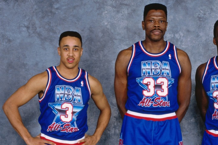 1994年、ユーイング(右)とスタークス(左)は揃ってオールスターに出場した。(C)Getty Images
