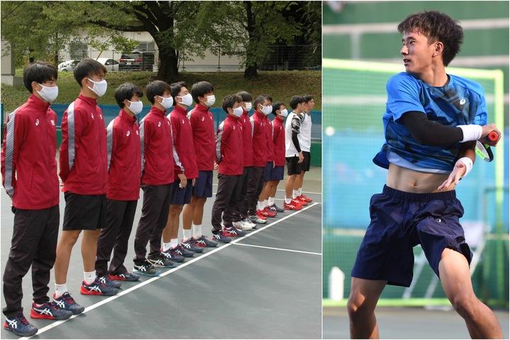 45連勝を決めた早稲田の男子チーム。写真右は単複で勝利した田中優之介。写真:スマッシュ編集部
