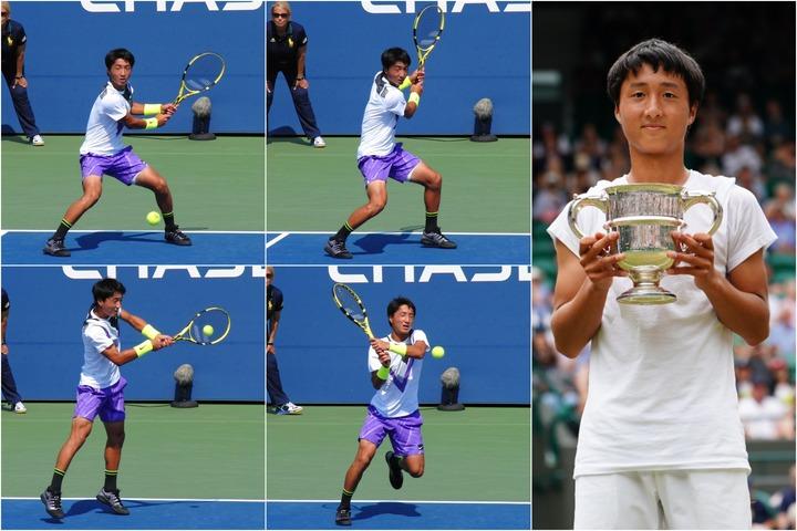 2019年のウインブルドンJr.で日本テニス史上初めて男子シングルスのタイトルを手にした望月慎太郎(当時16歳)。写真:THE DIGEST写真部