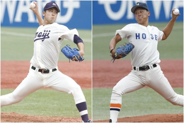 ともに東京六大学で活躍する入江(左)と鈴木(右)。どちらも即戦力として期待される。写真:山手琢也