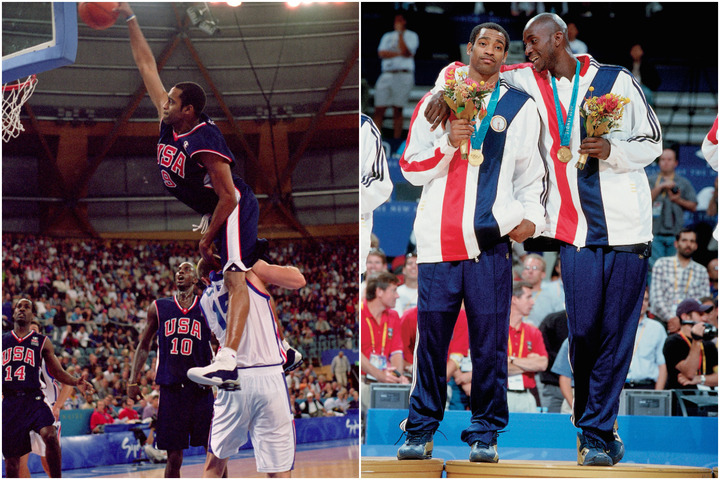 """バスケ史上最高のダンクとされるカーターの""""人間越えダンク""""(左)。シドニー五輪といえばこのイメージが強いが、それはアメリカ代表の戦いぶりが不甲斐なかったからでもあった。(C)Getty Images"""