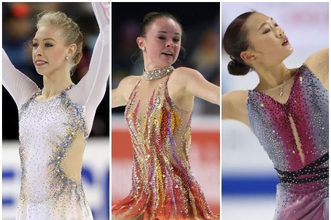 優勝のマライア・ベル(中央)、銀メダルはブレイディ・テネル(左)、銅メダルは16歳のオードリー・シン(右)に。(C)Getty Images
