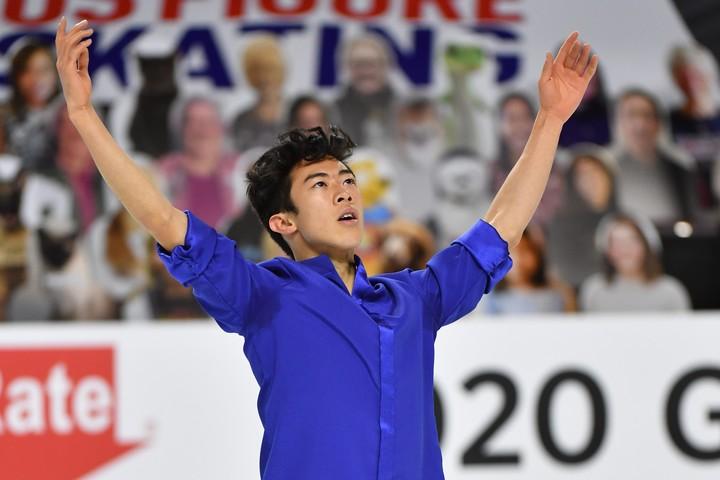 大会4連覇を達成したチェン。しかし、ジャンプのミスをしたフリーの演技後はやや悔しそうな表情も浮かべた。(C)Jay Adeff/U.S. Figure Skating