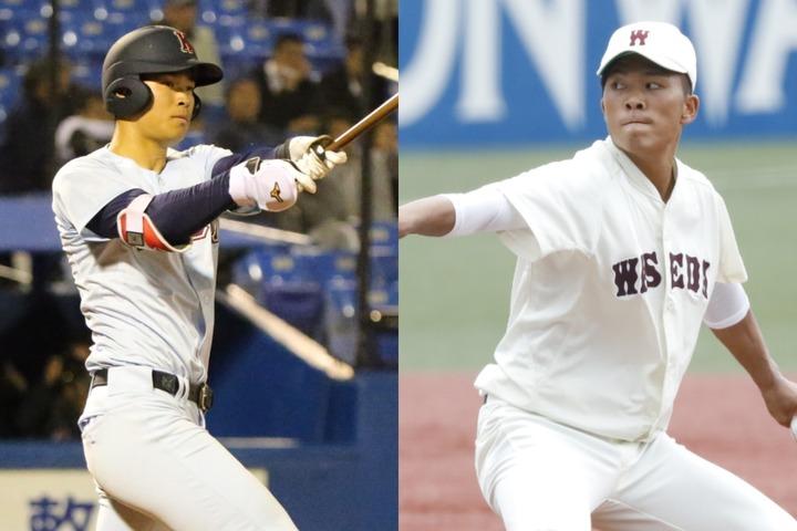 今ドラフトの目玉、佐藤(左)と早川(右)はそれぞれ4球団が競合した。写真:大友良行、山手琢也