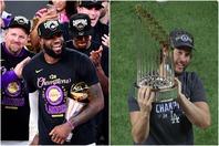 10月のNBAファイナルでレイカーズを10年ぶりの優勝に導いたレブロン(左)がドジャースを祝福した。(C)Getty Images