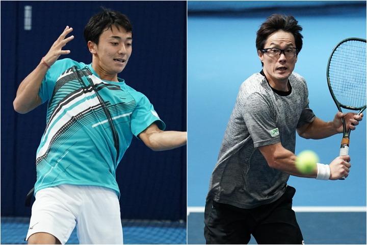 初戦突破を決めた第1シードの清水悠太(左)。42歳の松井俊英は一歩及ばず(右)。写真:金子拓弥(THE DIGEST写真部)