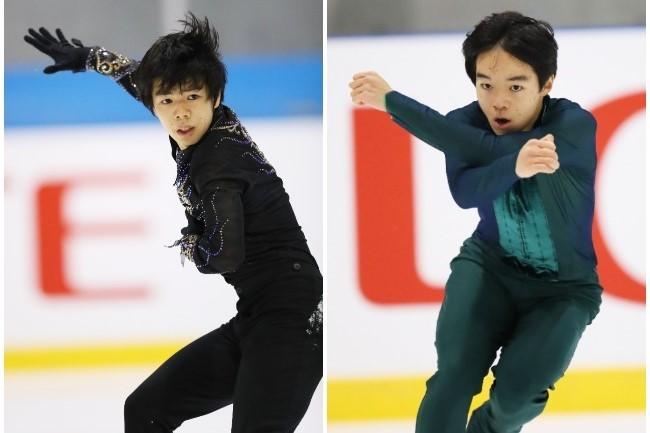 シニア1年目で東日本選手権を制した佐藤(左)。鍵山(右)も新プログラムを披露した。写真:森田直樹/アフロスポーツ