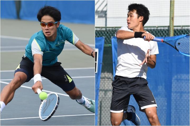 攻めのテニスで男子シングルスを制した田形(左)と、準優勝の熊坂(右)。写真:スマッシュ編集部