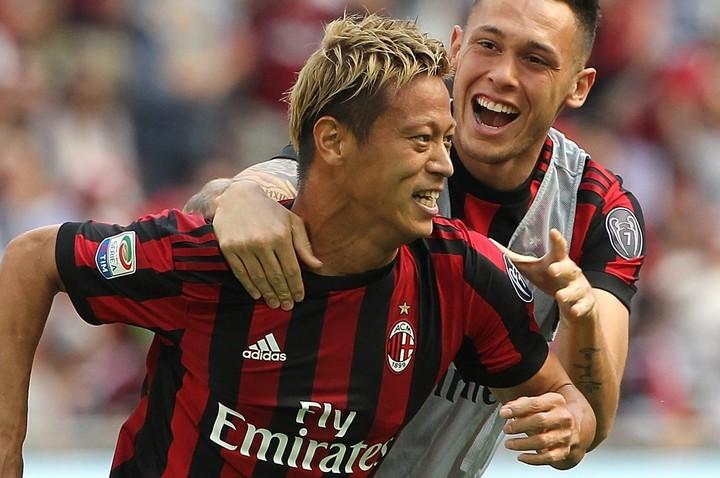 本田は当時「あれが5月のベストゴールだとは思わないが、みんなが投票してくれた。嬉しい」と語っていた。(C)Getty Images