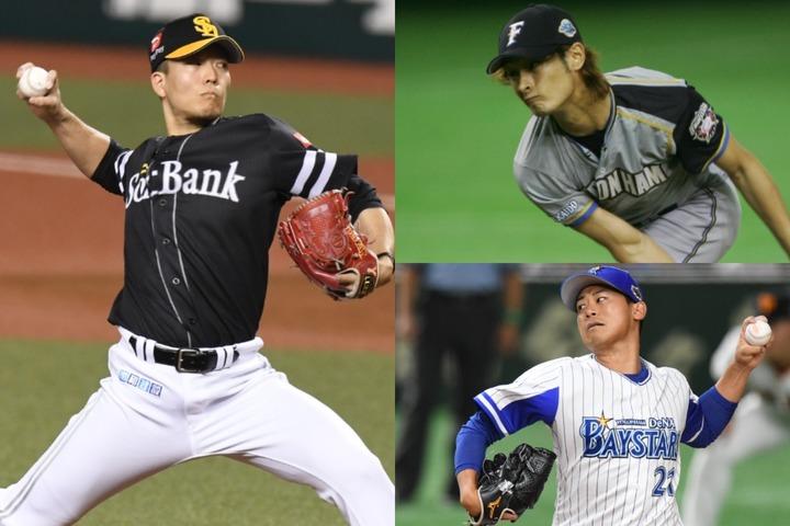 球界最高のドクターK・千賀(左)は日本シリーズでダルビッシュ(右上)、今永(右下)に続く3人目の大偉業を達成できるか期待したい。写真:徳原隆元(千賀、今永)、SLUGGER(ダルビッシュ)