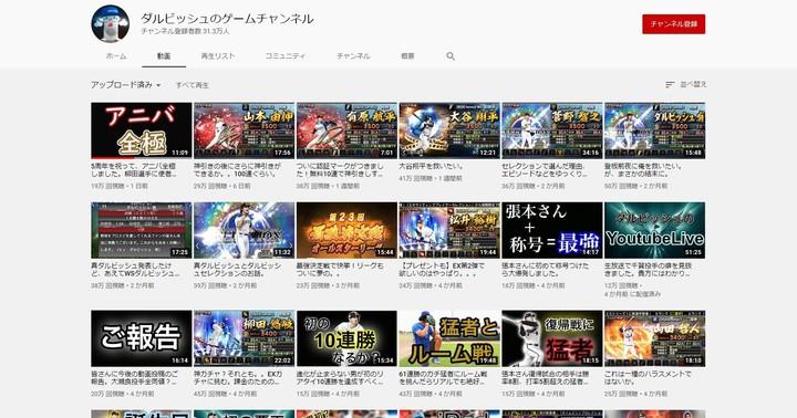 「ダルビッシュ有のゲームチャンネル」には『プロスピA』を中心に数十本もの動画が並ぶ。(写真は本人YouTubeのより)