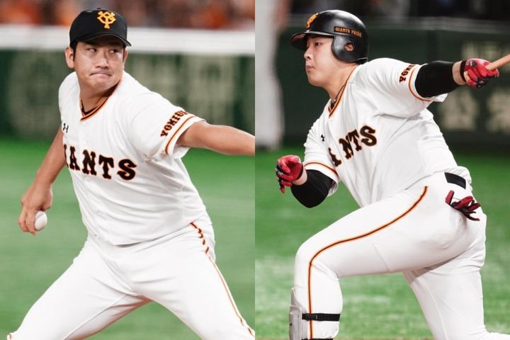 """巨人の投打の軸、菅野(左)と岡本(右)の""""リベンジ""""がシリーズの行方を左右する。写真:山崎賢人"""