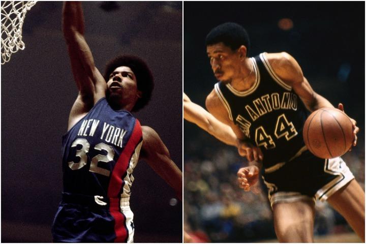 のちにNBAでも活躍するアービング(左)やガービン(右)はもともとABA出身。リーグを代表するスター選手として人気を博した。(C)Getty Images
