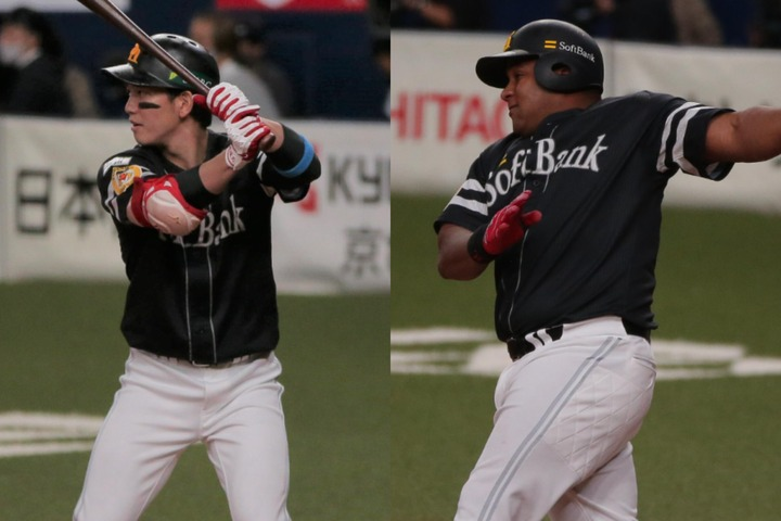 3安打4打点の大活躍で今日のヒーローとなった栗原(左)。だが、活躍のカギはデスパイネ(右)の存在にあった?写真:塚本凛平