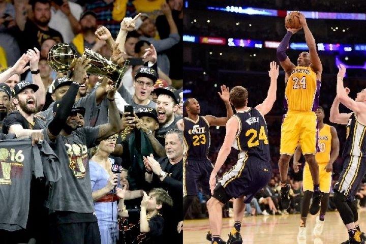 過去20シーズンの間に数えきれないほどの名場面が誕生。なかでもリーグの顔であったコビー(右)とレブロン(左)は多くのハイライトを生み出した。(C)Getty Images