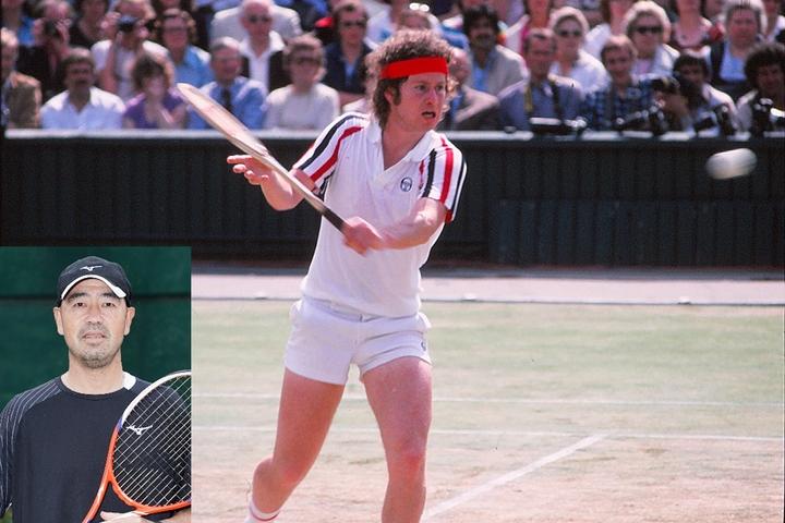 ネット主体の森井大治のテニスは、80年ウインブルドンでのマッケンローのプレーから影響を受けた。写真:スマッシュ写真部