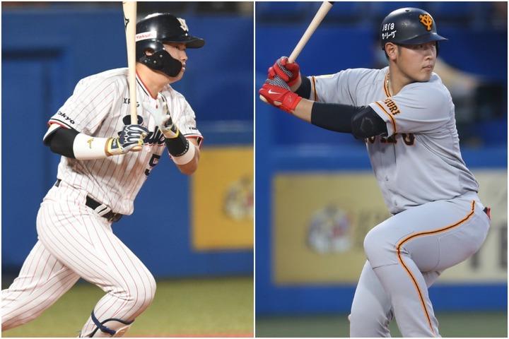 三塁は本塁打と打点の二冠を獲得した岡本(右)が有力。OPSリーグ1位の村上(左)は一塁での選出となりそう。写真:滝川敏之、徳原隆元