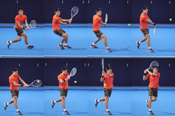 足をしっかり動かすこと。そして左手を力強く使ってラケット面を押すことが、今井選手がつかんだ両手バックのコツだ。写真は2020年全日本選手権(THE DIGEST写真部)