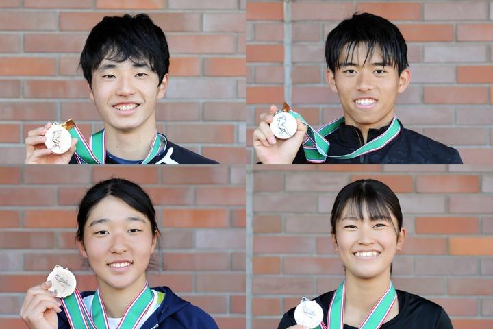 18歳以下シングルスの入賞者。上段左から杉本耕基、楠戸遥葵、下段左から大野里紗、星野桃花。写真:北沢勇