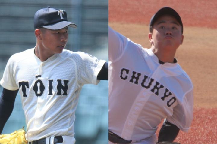 大阪桐蔭は松浦慶斗(左)ら投手陣が充実。中京大中京も畔柳亨丞(右)に加えて、野手陣にも実力者が揃う。写真:徳原隆元