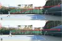 ネットからベースラインまでと同じくらい壁との距離を取り、まずはゆっくりとつなぐ練習(1)。続いて低い弾道のスピードボールを打ち、攻撃力を高める(2)。写真:THE DIGEST写真部