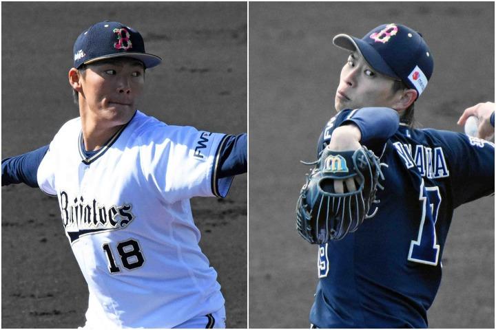 山本(左)と山岡(右)の両エースが、紅白戦で投げ合った。写真:北野正樹