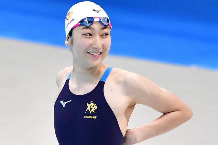 『東京都OPEN』の50メートルバタフライで復帰後初の金メダルを獲得した池江。(C)Getty Images