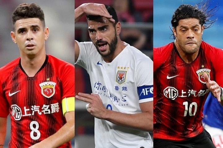 オスカル(左)、ペッレ(中央)、フッキ(右)ら海外のタレントたちを次々に招き入れ、リーグを繁栄させてきた中国サッカー界が危機的状況にあるようだ。(C) Getty Images