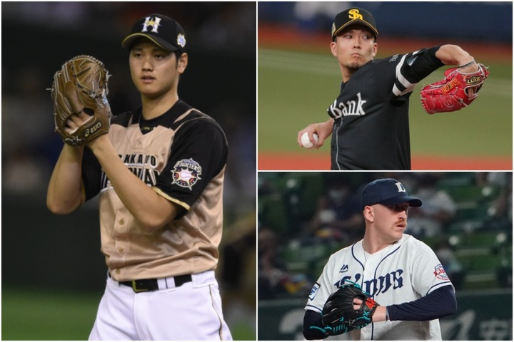 """球界最速投手は大谷(左)と皆知っているが、他の球団は? 千賀(右上)、ギャレット(右下)と近年は160キロ越えは""""普通に""""?"""