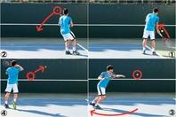 クロスに球出しし(1)、バック側に返球が来るようにする(2)。素早くフォアに回り込み(3)、エースを取るつもりで強打(4)。写真:THE DIGEST写真部