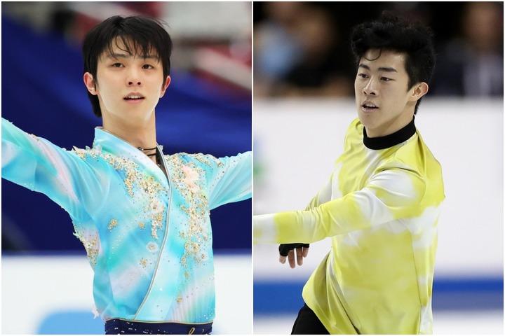 1年3か月ぶりの直接対決となる羽生結弦(左)とネイサン・チェン(右)。写真:森田直樹/アフロスポーツ(左)Getty Images(右)