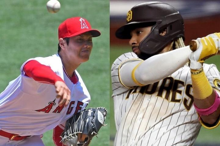 大谷(左)の渾身の速球を見事にバットに当てたタティスJr.(右)。この時の両者の攻防には海外メディアも感嘆の声を挙げた。 (C) Getty Images