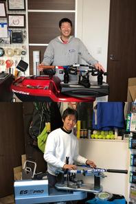 日本ラケットストリンガーズ協会、ヨネックスのストリングチームに所属する野口店長(上)。ヨネックス・テニスインストラクター兼ストリンガーの近藤さん(下)