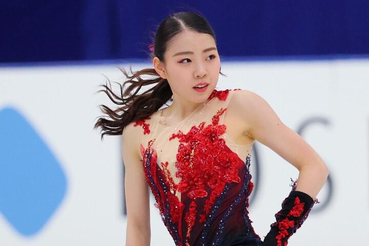 首位と1・92点差の2位につける紀平梨花。世界選手権の初タイトルに期待だ。写真:西村尚己アフロスポーツ