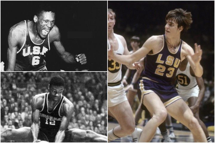 マラビッチ(右)はシーズン別の平均得点ランキングのトップ3を独占。ラッセル(左上)はカレッジ、NBA、五輪の3カテゴリーで頂点に。ロバートソン(左下)はカレッジ時代の平均得点で歴代3位に入っている。(C)Getty Images