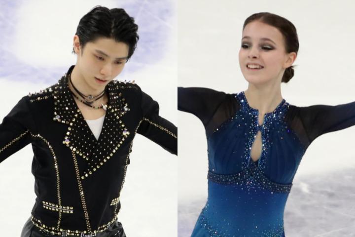 フィギュアスケート界を牽引する羽生(左)とシェルバコワ(右)。(C)Getty Images