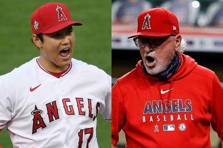 クレバーな指揮官であるマッドン(右)も大谷(左)のパフォーマンスに興奮した様子だ。 (C) Getty Images