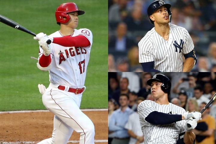 """""""ショー・タイム""""から一夜明けても興奮冷めやらず。メジャー屈指の強打者は、そのパワーはスタントン(右上)、ジャッジ(右下)となぞらえて称賛した。(C)Getty Images"""