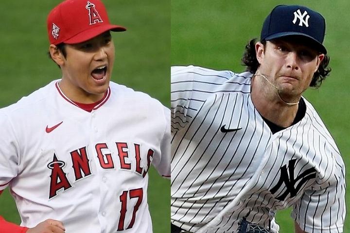 エンジェルスで躍動する大谷(左)に、ヤンキースのエースであるコール(右)も興味津々だ。(C) Getty Images