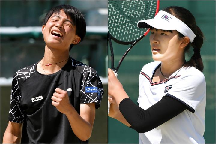 男子優勝の松岡隼(左)、女子優勝の石井さやか。(C)北沢勇