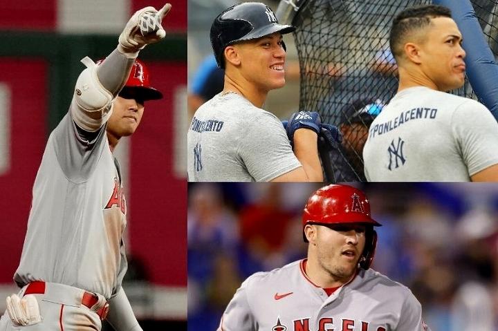 文字通りの絶好調のシーズンを送っている今シーズンの大谷(左)は、ジャッジ、スタントン(右上)やトラウト(右下)を上回る数字を叩き出している。(C) Getty Images