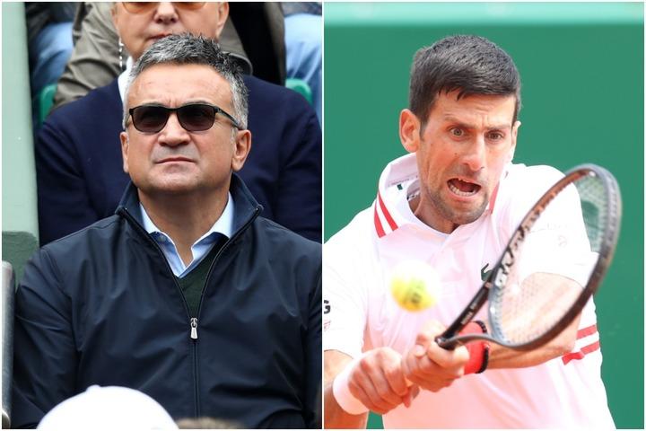 ジョコビッチ(右)に関する過激な発言が度々話題となるスルジャン氏(左)。(C)Getty Images