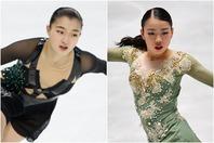 女子シングルのFSを演技した坂本(左)と紀平(右)。(C)Getty Images