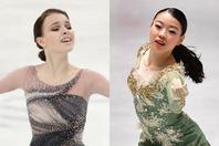 貫禄の演技で1位となったシェルバコワ(左)と、今回は腰痛を抱えながらも5位に入った紀平(右)。(C)Getty Images