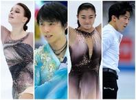 男子、女子シングルの1位、2位を占めた選手たち。左からシェルバコワ、羽生、坂本、チェン。 (C)Getty Imagse