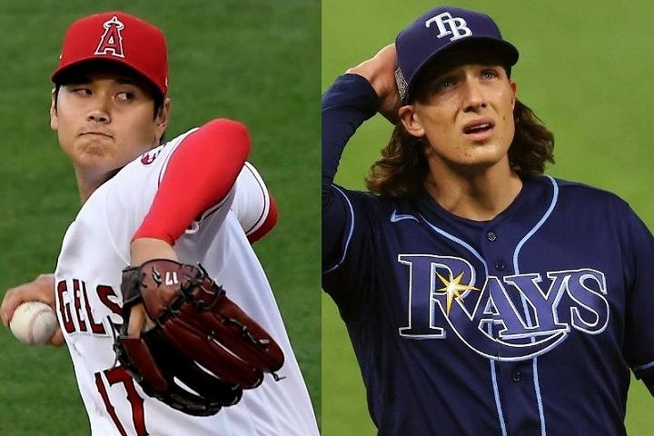 球界屈指の剛腕グラスノー(右)も、MLBで異彩を放つ大谷(左)のポテンシャルに驚きを隠さない。(C)Getty Images