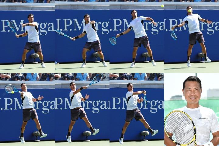 フォニーニのフォアハンドは、胸を張って腕を遅らせることで、相手に打つコースを読ませない。右下は本村浩二プロ。写真:THE DIGEST写真部